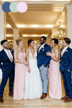 This wedding party is so beautiful and chic with their pastel color palette. The bride looks amazing her gown from the Wedding Shoppe. The navy suits on the groom and groomsmen is so elegant for this venue. The navy blue, sage green, and baby pink color palette is gorgeous for a summer wedding! Summer wedding inspiration | Elegant wedding inspiration | Bridal gown inspiration | Wedding Shoppe Inc. Brides Blush Pink Bridesmaid Dresses, Blush Pink Wedding Dress, Junior Bridesmaids, Blush Pink Weddings, Wedding Bridesmaid Dresses, Allure Couture, Navy Suits, Wedding Shoppe, Baby Pink Colour