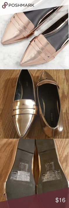 SALE! F21 Rose Gold Penny Loafers NWOT by Forever 21.  On-trend rose gold, faux leather penny loafers with pointed toe.  Very lightweight, comfortable shoe.  Make an offer!! Forever 21 Shoes Flats & Loafers