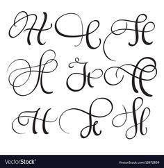 set of art calligraphy letter H with flourish of vintage decorative whorls. Graffiti Lettering Fonts, Hand Lettering Alphabet, Creative Lettering, Typography Love, Brush Lettering, Cursive Letters, Japanese Typography, Graffiti Alphabet, Typography Poster
