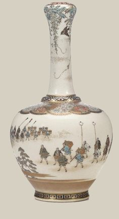 """japaneseaesthetics: """" A fine Satsuma bottle vase By Yabu Meizan, Meiji period (late 19th century) Designed with a compressed ovoid body and slender neck terminating in a garlic bulb mouth and decorated in polychrome enamels and gilt on a clear..."""