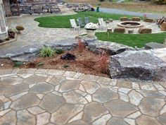 Permacon Mega -Arbel, Firepit and Natural Armour Stone Retaining Wall Stone Retaining Wall, Sidewalk, Patio, Natural, Outdoor Decor, Home Decor, Yard, Walkway, Homemade Home Decor