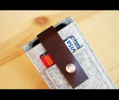 Mini smartphone case  wallet  wool felt and by NaturaleAccessories, $34.99