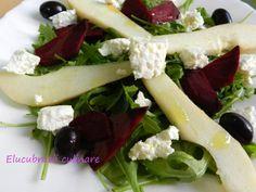 Rețetă Antreuri : Salată rucola cu pere și sfeclă roșie de Elucubratiiculinare Feta, Camembert Cheese, Healthy, Ethnic Recipes, Kitchens, Health