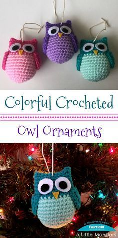free colorful crocheted owl ornament pattern