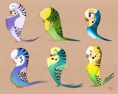 Cute cartoon parrots