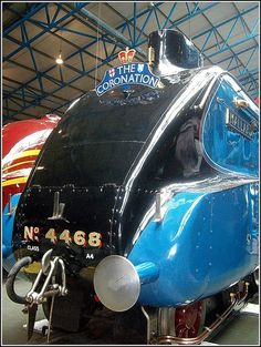 """National Railway Museum in York. The board's """"Coronation"""" """"Mallard"""" Number 4468 Mallard is London and North Eastern Railway Class Pacific steam locomotive built at Doncaster, England in Train Museum, Flying Scotsman, National Railway Museum, Railroad History, Abandoned Train, Old Trains, British Rail, Train Engines, Steam Engine"""