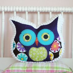 NEW  Owl Pillow Stuffed Owl  Bedroom Decor Pillow White by BWinks, $32.00