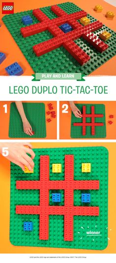Whether you know it as Tic-Tac-Toe or nought and crosses, this is fun twist on a classic paper and pen game. You'll need a LEGO DUPLO baseboard and one set of similar colored bricks for each player. Help your pre-schooler to build the frame, then challenge them to get three-in-a-row. Even though it might seem simple, this is a great little game for developing fine motor stills and introducing young children to strategy and logic!