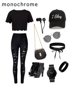 """""""Cute Monochrome All Black"""" by beheath ❤ liked on Polyvore featuring Ted Baker, Chloé, Ray-Ban, Skullcandy, Steve Madden, Boohoo, West Coast Jewelry and South Lane"""