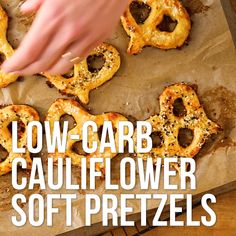 These gluten-free and low-carb cauliflower soft pretzels use riced cauliflower in place of flour, with a little cheese and egg as binder, to make a fun grain-free snack. #healthysnacks #snacks #snackideas #healthysnackrecipes #healthysnackideas #recipe #eatingwell #healthy