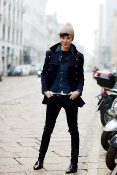 Androgynous style at its best. Alessandra Milano on the Sartorialist. Perfection.