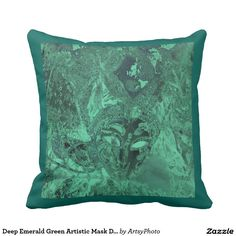 Deep Emerald Green Artistic Mask Design
