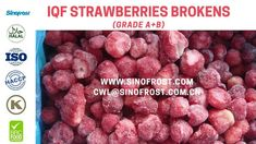 Sinofrost - Frozen Strawberries Brokens Supplier China - IQF Strawberrie... Strawberry Puree, Frozen Strawberries, China, Food, Eten, Meals, Porcelain Ceramics, Porcelain, Freezing Strawberries