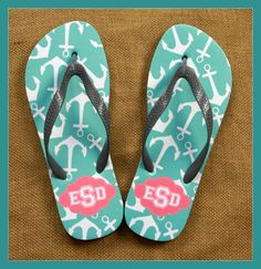 Shower Shoes Monogrammed Flip Flops Teacher by ChicMonogram