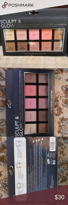 NWT HIGHLIGHT, CONTOUR, BLUSH & BRONZER PALETTE NWT Sculpt & Glow highlight, contour, blush and bronzer palette by Style Essentials. An all in 1 palette to highlight, buff, contour and glow! 10 shades. Bundle & save!! 2 palettes available! Style Essentials Makeup Face Powder