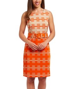 Look at this Beige & Orange Geometric Belted Sheath Dress on #zulily today!
