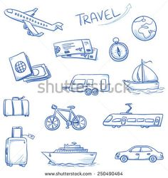 Icon set travel holidays, vacation with plane, car, train, bike, ship, compass, luggage, trailer, passport, globe, tickets. Hand drawn doodle vector illustration.