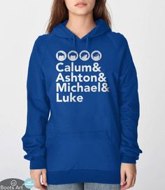 """""""5SOS Fan Hoodie""""   5 Seconds of Summer clothing with band member names in Helvetica   Calum Hood, Ashton Irwin, Michael Clifford and Luke Hemmings   Typography Hooded sweatshirt from Boots Tees. Also available as a t-shirt."""