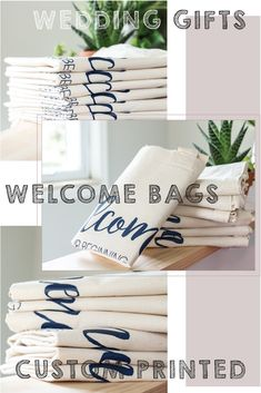 Find tons of ideas for custom printed tote bags. High quality guest favors, welcome bags, goodie bags etc! Wedding Welcome Gifts, Custom Wedding Gifts, Wedding Shower Decorations, Wedding Favors, Tote Bags For College, Custom Tote Bags, Welcome Bags, Printed Tote Bags, Goodie Bags