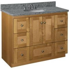 Shaker 42 In. W X 21 In. D X 34.5 In. H Door Style Vanity Cabinet Only In…