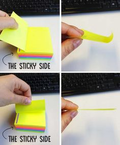 Post-Its Curling - Tired of your post it notes curling up? You've been peeling them off the wrong way. DIY Home Sweet Home: Completely Random Hacks That You Need In Your Life Hack My Life, 1000 Life Hacks, Life Hacks For School, Simple Life Hacks, Useful Life Hacks, Easy Hacks, Lifehacks, Do It Yourself Inspiration, Iphone Hacks