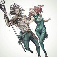 Jason Momoa Aquaman and Mera by Tiago Da Trini