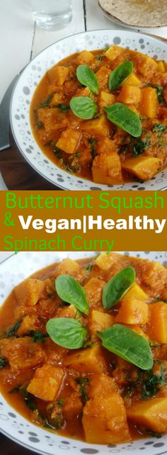 Butternut Squash and Spinach Curry-Super food curry, so healthy and tasty. Lunch Recipes, Breakfast Recipes, Vegetarian Recipes, Healthy Recipes, Vegetarian Platter, Fall Recipes, Spinach Curry, Vegan Meal Prep, Curry Recipes