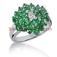 Gemstone Jewelry: Ladies Diamond and Emerald Ring 14K 0.24ctd 4.40cte