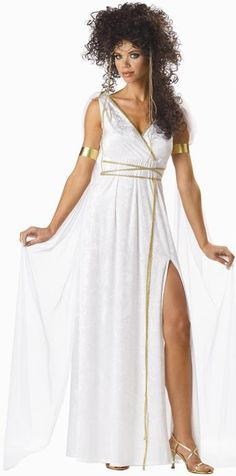 #00751 Travel back in time this Halloween as an Athenian Goddess. The Athenian Goddess Costume includes long, white crushed velvet dress with attached veils and gold trim. The matching headpiece and a