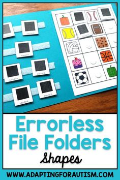 Errorless File Folder Activities for Special Education and Autism - Shapes File Folder Activities, Math Activities, Folder Games, Work Task, Community Activities, Preschool Special Education, Shape Matching, Student Data, Work Stations