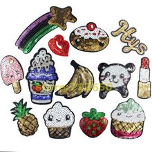 Nova chegada misturados 13 pcs popular lantejoulas patches bordados de ferro no cartoon Motif DK Applique acessório bordado(China (Mainland))
