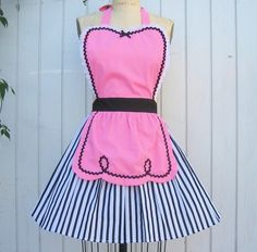 retro apron pink 50s DINER WAITRESS apron ..ice cream parlor fifties sexy hostess