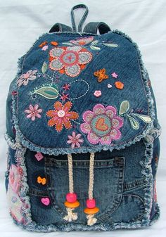 DENIM PATCHWORK BACKPACK от poppypatchwork на Etsy