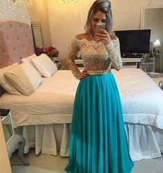 Cheap gown evening dress, Buy Quality gowns discount directly from China gown dress Suppliers: Long Sleeve Lace Prom Dresses 2016 Cheap Crystal Plus Size A Line Beaded Off Shoulder Evening Party Gown vestidos de gala Senior Prom Dresses, Prom Dresses 2016, Prom Dresses Long With Sleeves, Prom Dresses Blue, Dresses For Teens, Pretty Dresses, Prom Gowns, Lace Prom Gown, Chiffon Evening Dresses