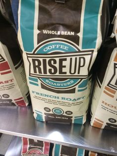 RISE UP - nice coffee roaster name Coffee Pack, Best Coffee, Coffee Beans, Water Bottle, Logo, Drinks, Nice, Top Cafe, Logos