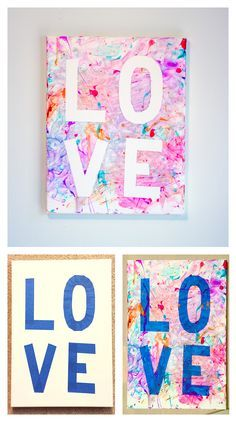 Toddler Mother's Day (or Valentine's Day) gift craft - canvas, painter's tape, finger paint