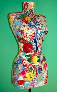 decopaged dress form, clever idea!