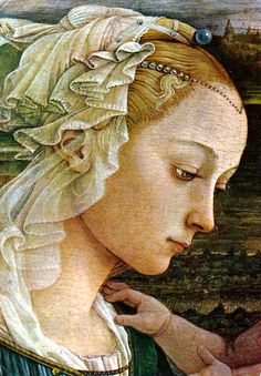 "Fra Filippo Lippi, detail from ""Madonna and Child with Two Angels"" -- Uffizi, Florence"