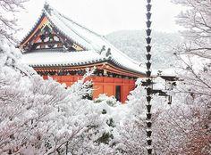 pesada de nieve en invierno Kyoto Japón