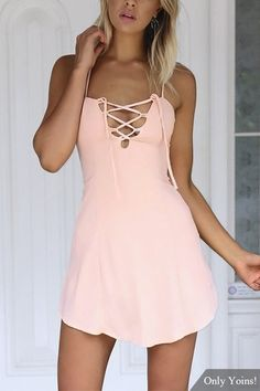 Criss-Cross Hollow Front & Backless Mini Dress in Pink from mobile - US$17.95 -YOINS