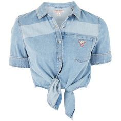 Tie Front Denim Shirt by Guess Originals found on Polyvore featuring tops, shirts, crop top, cropped, blue, striped top, short sleeve tops, striped shirts, blue crop top and striped crop top