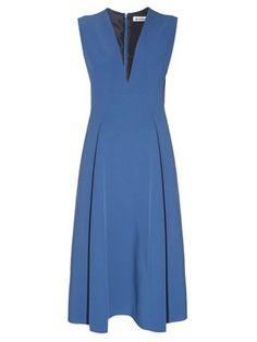 Click here to buy Jil Sander Bocciolo V-neck midi dress at MATCHESFASHION.COM
