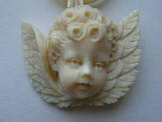Victorian Carved Ivory Cherub Cameo Pendant
