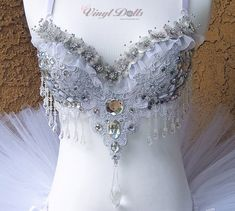 Diamond Ice Princess Floral Rave Bra Frozen Rave Top by VinylDolls