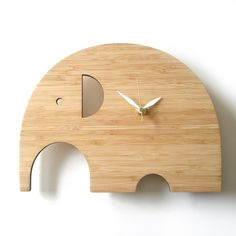 Modern Animal Clock - Elephant No Numbers