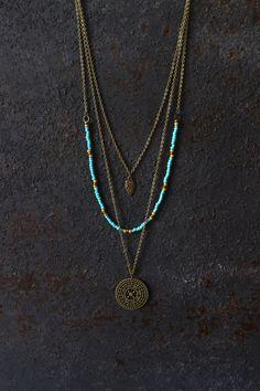 Boho necklace, layered necklace, hippie necklace, mandala necklace, boho…                                                                                                                                                                                 More