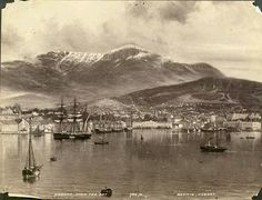 Hobart from the Bay - photograph of a painting, ca. 1900