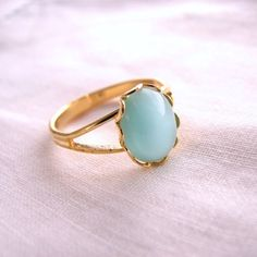 Aqua mint ring with vintage glass stone by shadowjewels, via Etsy