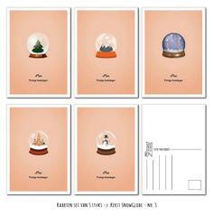 Kaarten set Kerst Snow Globe van LeuksteKaartjes.nl by xMar http://xmar.nl/leukstekaartjes.nl-webwinkel.html