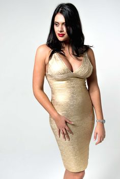 'Erienne' Gold Foil Effect Crossover Bandage Dress